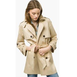Massimo Dutti Tie Belt Cropped Sleeve Trench Coat